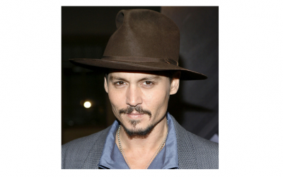 Johnny Depp sporting his trademark Fedora in chocolate brown