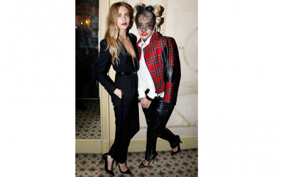 Woman and super-model of the moment Cara Delevingne was spotted a few times at PFW with her friend Rita Ora, both adorning fashion forward styles and Rita at this party adorned a dark head-piece with face veil.