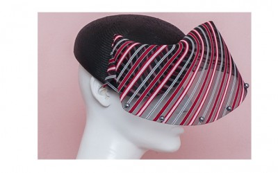Reversible cocktail hat with pearl and stripy veil from Noel's SS 14 - JEWELLED WATER GARDEN collection