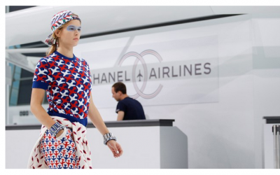 Paying homage to the Chanel's early days in hat making, at their S|S16 show in an airport lounge - we witnessed a rebirth of the classic Chanel boater hat which came in the same colours as the collections. We also saw digital print head-bands and modern baseball caps (as seen above).