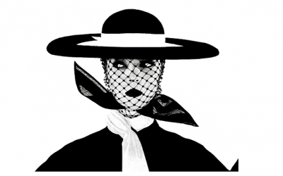 From Vogue 1950, Photography Irving Penn captured this iconic image of a woman in a black and white wide brimmed hat with veil.